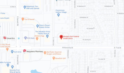 Western Sun Federal Credit Union Broken Arrow Main Office Branch google map screenshot linked to full map