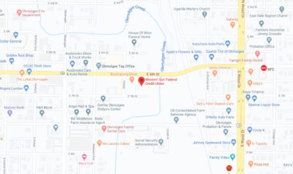 Western Sun Federal Credit Union Okmulgee Branch google map screenshot linked to full map