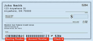blank example western sun federal credit union check with routing number and account number information highlighted