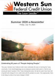 Screenshot of Summer 2020 e-Newsletter.
